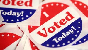 DES MOINES, IA - OCTOBER 08: Stickers are made available to voters who cast a ballot in the midterm elections at the Polk County Election Office on October 8, 2018 in Des Moines, Iowa. Today was the first day of early voting in the state. (Photo by Scott Olson/Getty Images)